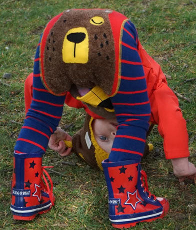 Bright baby leggings by Blade and Rose, with fluffy bear face on bum, fun and comfortable to wear with plenty of room for nappy!