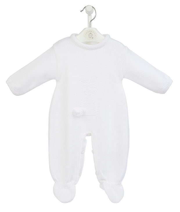 White knitted bobtail All-in-One  - has acute bunny rabbit design to front with pompom bunny bobtail!  Button fastening to neck and legs for easy undressing!