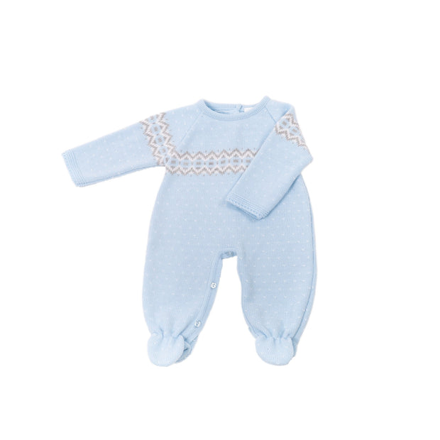 Perfect for the cooler weather and festive season!  With fair isle print and pop pom detail to front, buttons to the back and legs, long sleeves and legs with feet to keep baby warm in the cooler weather.   Machine washable.