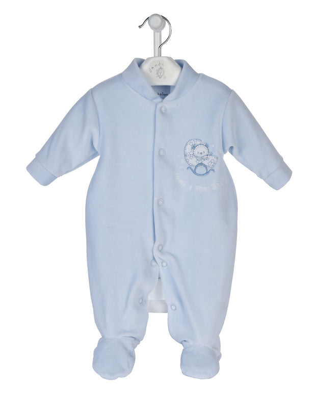 So soft and snuggly to touch! Velour All in One with Rock a Bye motif to front.  Any baby will feel so comfortable in this. Popper fastenings to front and legs for easy dressing.