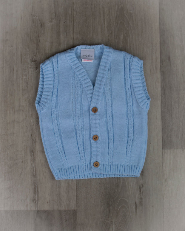 Blue knitted waistcoat with rib design and wood effect buttons, made in Portugal. Perfect for both everyday and special occasions!