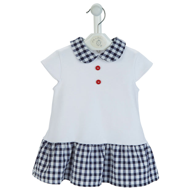 Navy and white check seersucker dress - white short-sleeve dress with navy and white check peter pan collar and skirt. Red button detail to front with popper fastenings to back.