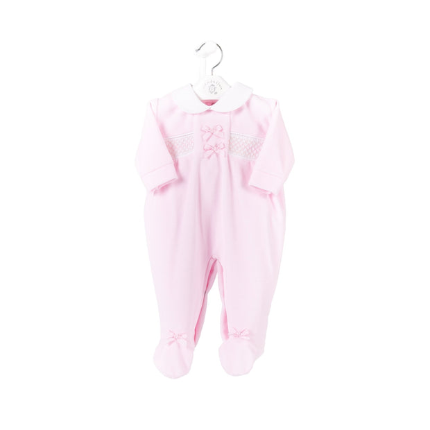 One of our most popular outfits!  Pink velour All in One with smocking and bows to front, white peter pan collar. And check out the bows to the feet!