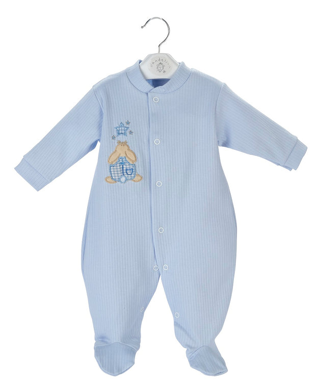 Cotton, ribbed All in One with rabbit and star motif to front. Poppers to front and legs for easy dressing!  Available in pink and blue, also in premature sizes