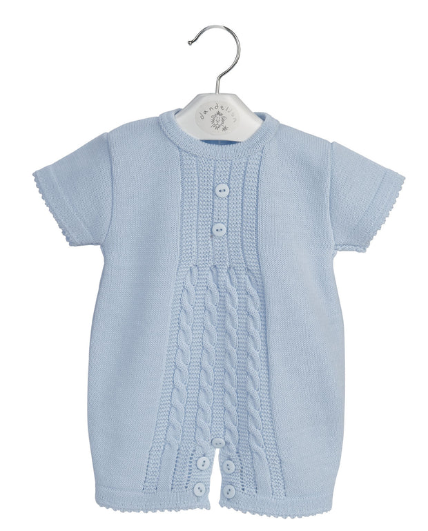 Blue Cable Knitted Romper