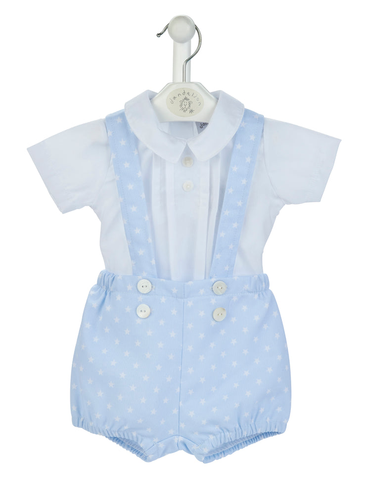 Blue pique shorts and shirt  Star printed fully lined shorts with button detail on front Cross over straps at the back  Pleated front shirt with peter pan collar 3 buttons opening down the back Manufactured in Portugal