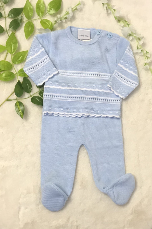 Two Piece Knitted Pointelle Suit.