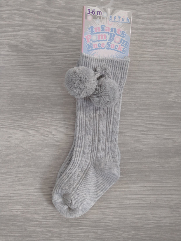 Grey cable knee-length pompom socks
