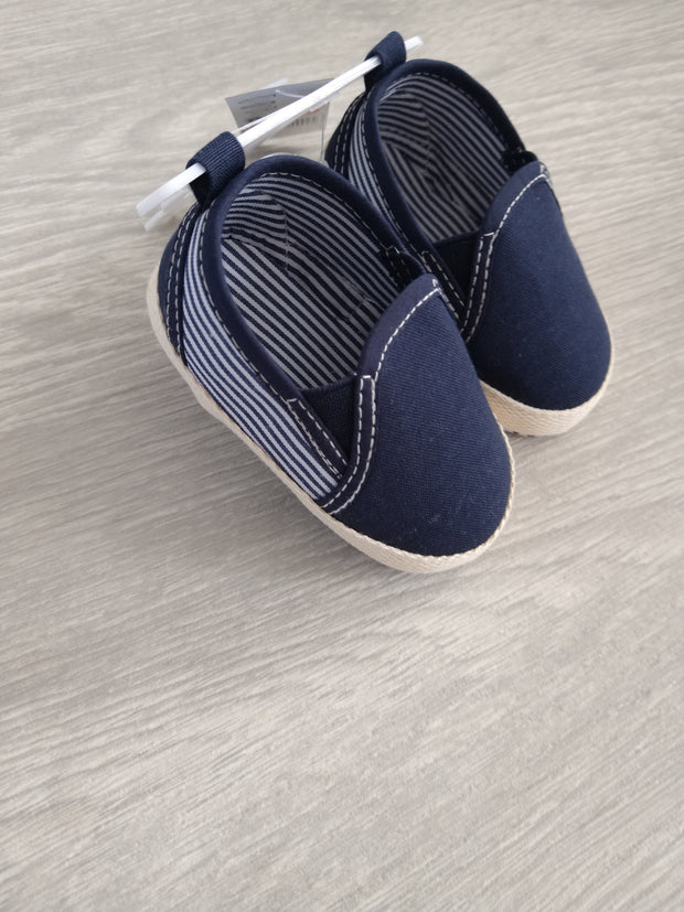 Navy twill shoes with navy and white stripe detail to sides.