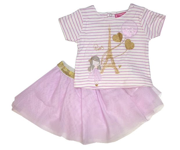 Striped top with appliqued and printed ballerina design with net overlay and gold glitter detail. Has popper fastening to the back. Tulle net tutu skirt.  White/Pink  Top - 100% Cotton. Skirt - 100% Polyester.