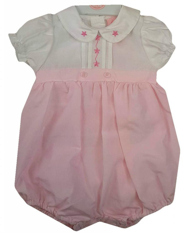 White and pink romper with button fastening to the back and poppers to the legs. Peter pan collar. Pleated detail with embroidered flowers design.
