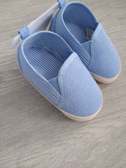 Sky twill shoes with white and sky stripe detail to side.