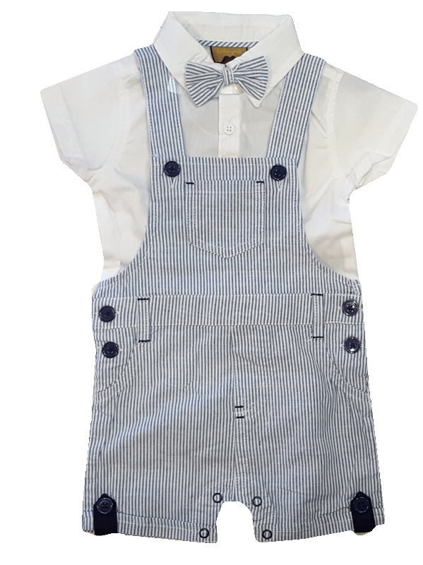 White collared top with button fastening to the front. Appliqued, striped detachable bow tie. Striped dungarees with pockets, belt loop and button detailing. Button fastening to the straps and sides, with poppers to the legs.   100% Cotton