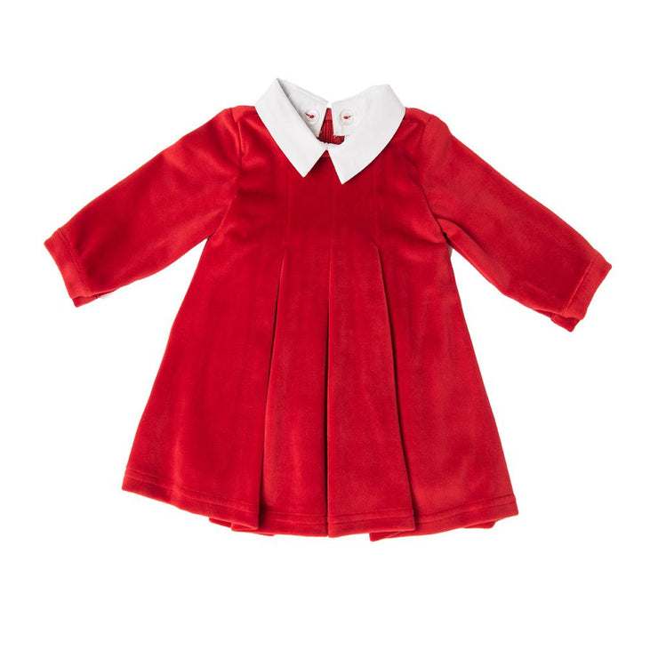 Red velour dress with white detachable collar by Babybol Barcelona. Fully lined with pleats to the front. Zip fastening to the back. Perfect Christmas outfit or for anyone who just likes red!  92% polyester, 8% elastane, cotton lining.