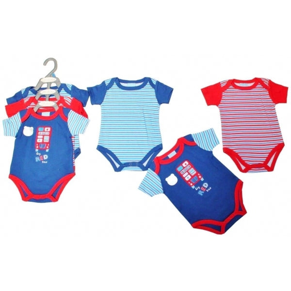 Pack of three short-sleeved bodysuits, with envelope neck and poppers to the leg in blue and red.  100% cotton interlock knit.