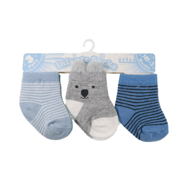 Pack of three pairs of socks in blue and grey.   70% Cotton, 27% Polyester, 3% Elastane