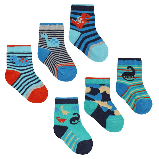 Pack of three pairs of dinosaur socks.  Two designs:  Pack A (top image) Red Heel  Pack B (lower image) Navy Heel     78% Cotton, 20% Polyester, 2% Elastane