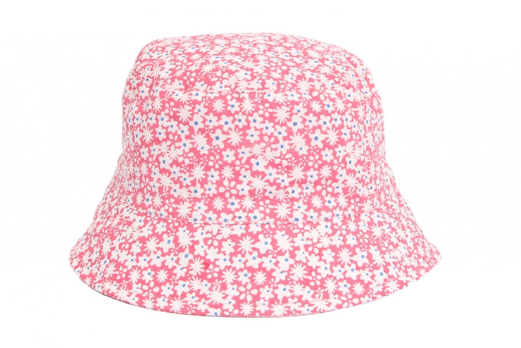 Pink and white floral bucket hat, perfect for summer!  100% Cotton