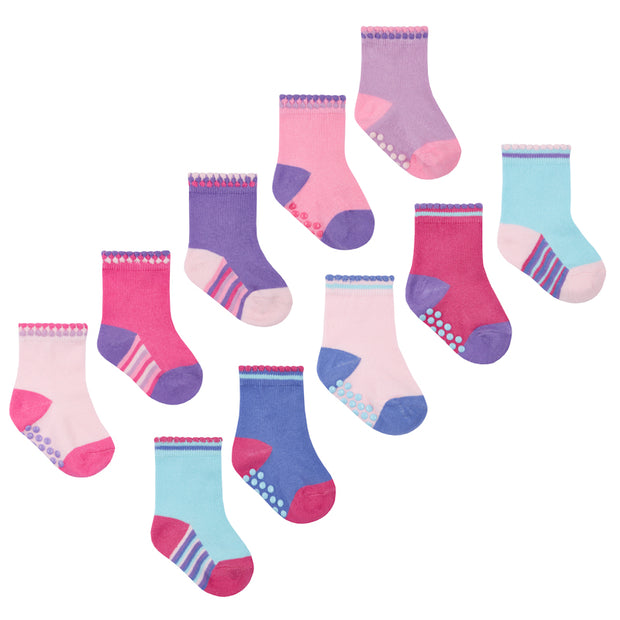 Five pairs of socks with grippers.  Two designs:   Pack A: (top image)- pink/purple  Pack B: (lower image) - pink/turquoise  78%cotton 20% polyester 2% Elastane