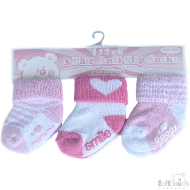 Pack of 3 pairs pink anti-slip socks with turnover and rubber print on sole.  85% cotton, 13% polyester, 2% elastane