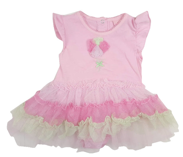 Pink bodysuit with poppers to the back and legs. Tiered sparkle cream and pink net tutu skirt with matching rosette.
