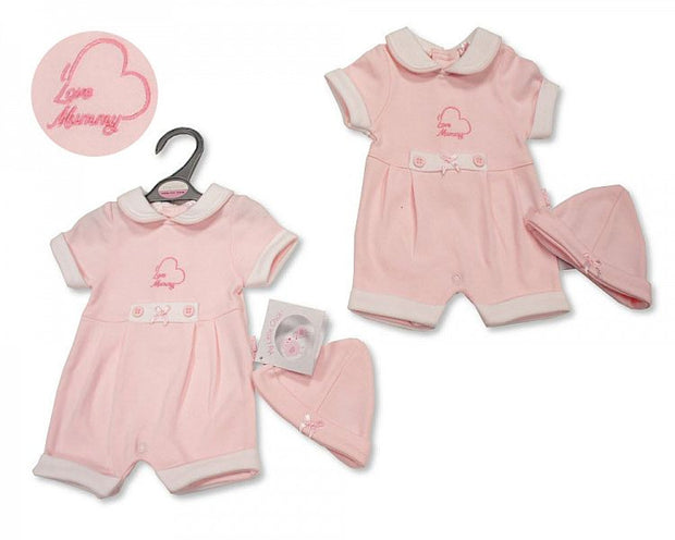 Pink Premature 'I Love Mummy' Pink Romper and Hat
