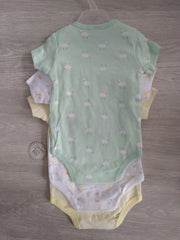Set of three short-sleeved bodysuits in yellow, white and green with sheep design, with envelope neck and poppers to legs.