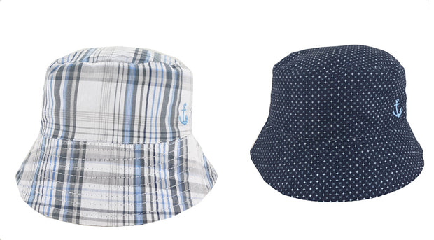 Reversible bucket hat with embroidered anchor. Wear Spots one day, Check the next!  Blue/White