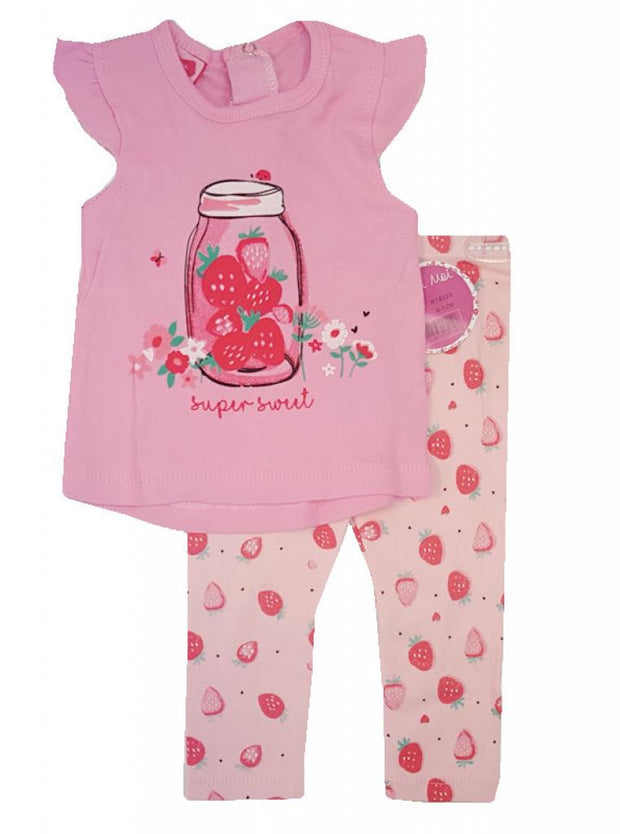 "Pink top with printed ""strawberry"" design, with cap sleeves and poppers to the back. Pink leggings with strawberry print.  100% Cotton."