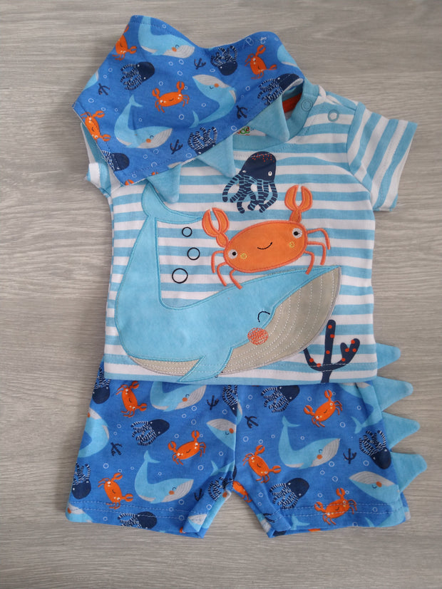 """Sea Life"" Shorts Set, top has buttons to shoulder, shorts with elasticated waist. Comes with matching bandana style terry bib!"
