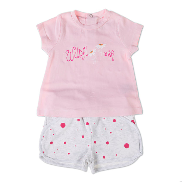"Pink top with printed ""wildflower"" design and diamonte detail, popper fastening to the back by Babybol Barcelona  Grey shorts with pink flower print and faux pocket detail.  95% Cotton/5% Elastane"