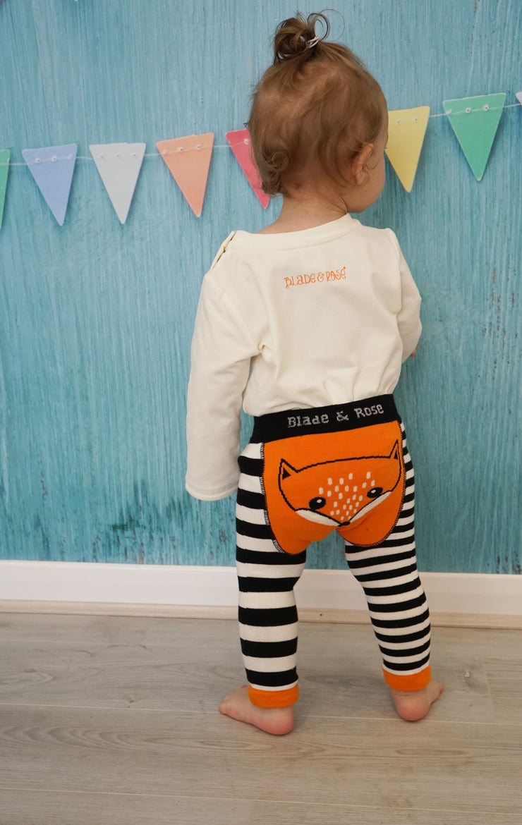 Black and white striped leggings with orange fox motif to bum by Blade and Rose!  Why not buy with Blade and Rose fox T-shirt and socks for the perfect outfit!