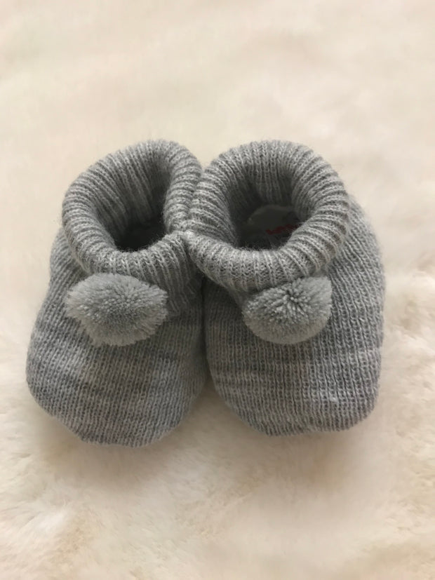 Grey pompom bootees - perfect for keeping little feet warm and for finishing off newborn outfit!