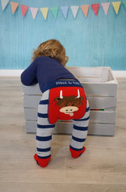 Navy and Grey striped leggings by Blade and Rose with very cute highland cow motif to bum! Why not match with T-shirt and socks to complete the outfit!