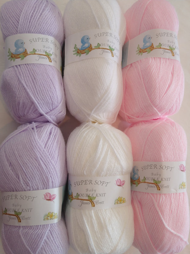 James C Brett Baby DK Colourpack - Pink, White and Lilac