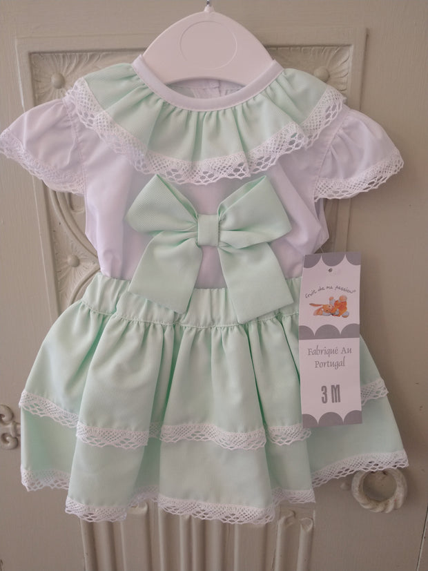 Spanish Mint Frilly Two Piece Set