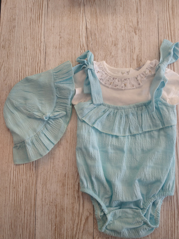 Aqua Seersucker Romper Set with Hat