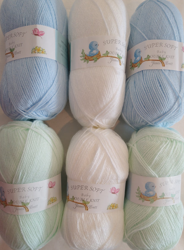 James C Brett Baby DK Pastel Colourpack - Blue, White and Mint