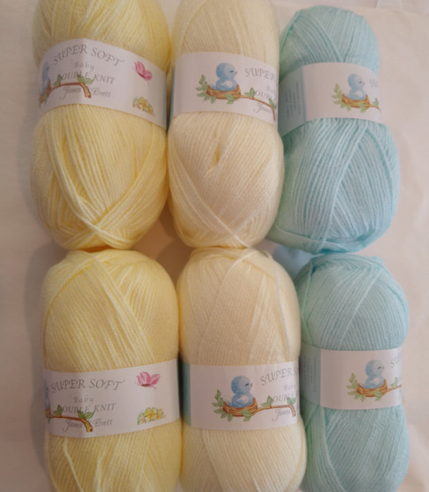 James C Brett Baby Double Knitting Pastel Colourpack - Lemon, Cream and Aqua