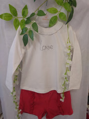 'Love' Top and Velour Shorts Set