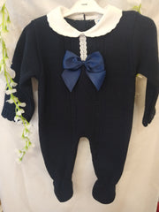 Navy Knitted All in One with Bow