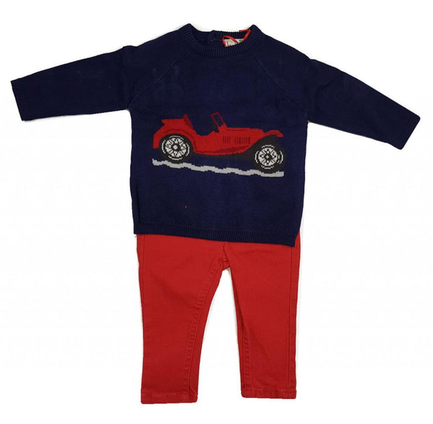 For all car enthusiasts out there!  Navy jumper with red car to front, with matching red jeans with elastic waistband for comfortable fit!
