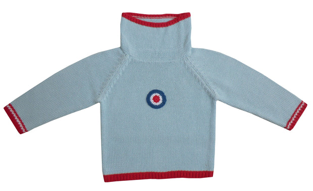 Vintage style aeroplane crew neck jumper  In pale blue with red trim to neck, sleeves and hem. Eye-catching crochet target motif to chest.   Loose neck so will be easy to get on and off! Why not buy matching jumpsuit?  100% cotton, cool wash only to keep its shape.