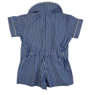 How chic is this?  Traditional style blue and white stripe romper, peter pan collar with contrasting white trim to collar and sleeves. Ruched detailing to back. Buttons to the front and legs, making it easy to dress baby!  100% cotton and machine washable.