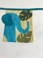 How fun would this jungle print cotton bunting be in nursery or a little one's bedroom?  Embroidered and appliquéd print, even has flap for elephant's ear!  4 metre in length, 100% cotton.