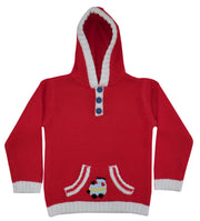 Red cottonknit hooded jumper with crochet train design to front pocket. Blue fabric buttons to front and so easy to get on and off over baby's head!   100% cotton and machine washable.  Why not match with red train jumpsuit, bib and babygrow?