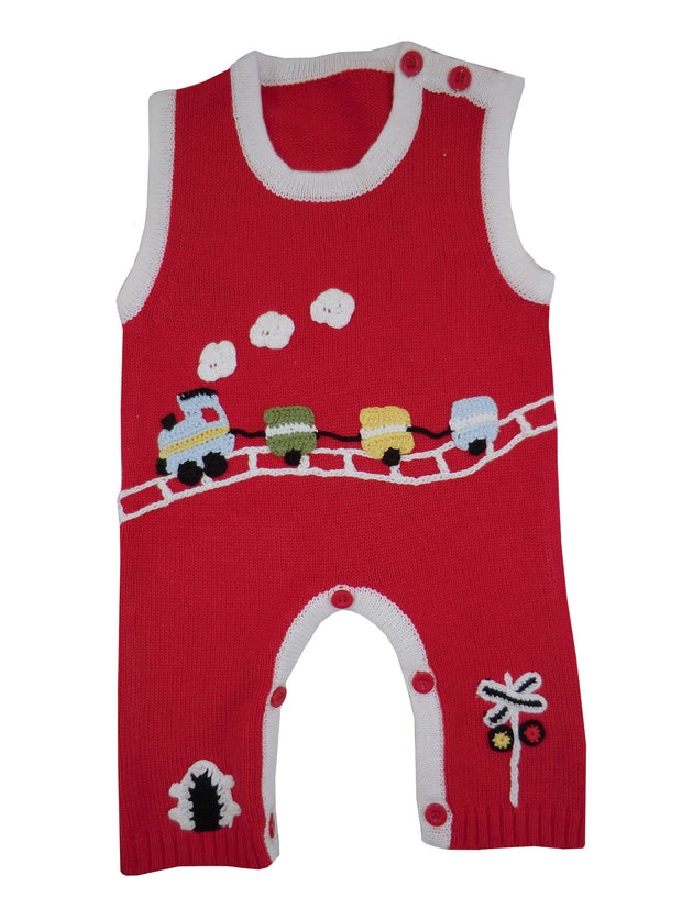 Red cottonknitted jumpsuit with crochet train and track design.   Contrasting trim and button fastenings to neck and legs and so easy to get on and off!  Matching red train baby grow, bib and hooded jumper also available.  100% cotton, machine washable.