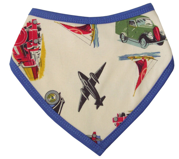 Cotton jersey bandana style bib with transport design, trimmed in blue. Press stud fastening to back, perfect for protecting baby's outfits!