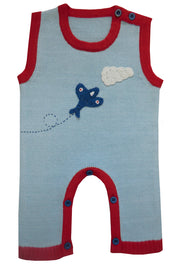 Vintage Style Knitted Aeroplane Jumpsuit by Powellcraft.   Pale blue colour with red trim. Crochet aeroplane and cloud design to front.   Contrasting button fastenings to neck and legs so it is easy to get on and off.   100% cotton, cool wash only so it doesn't lose it's shape! Why not buy with matching aeroplane jumper?
