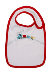 White cotton jersey bib with red trim and popper fastenings.   Appliqued train design, red cotton jersey back.   Matches red train jumpsuit, babygrow and train hooded jumper.